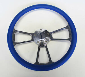 1970 s Dodge Dart Charger Demon Blue And Billet Steering Wheel 14 Very Nice