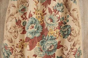 Antique Printed Block Printed Linen Curtain 1900 Floral Blue Yellow