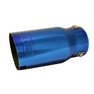 Dc Sports Bolt On Metallic Blue Steel Exhaust Muffler Tip 7 5 X 3 5 X 2 9