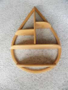 Mid Century Danish Wood Teardrop Hanging Wall Shelf Modern Plants Knick Knacks