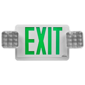 Green Combo Exit Sign Emergency Light visionis Vis esgwel Double Sided