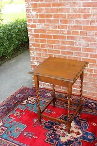 English Antique Oak Barley Twist Pie Crusted Small Side Table