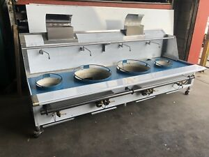 Four 4 Hole Chinese Wok Range 22 Ring 13 Jet Or Duck Burner Gas Nsf Approved