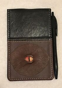 Very Unique Black burgundy Leather W cat Eyed Note Book Lined Memo Pad Holder