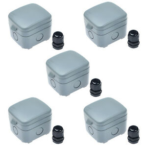5pk Ip66 Weatherproof 15a Fused Protection Switched Unit Waterproof Junction Box