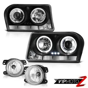 2009 2010 Chrysler 300 Touring Black Angel Eye Projector Headlights Driving Fog