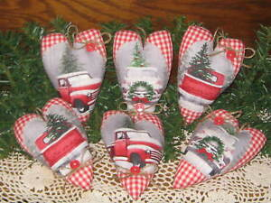 6 Handmade Old Red Truck Fabric Heart Ornaments Country Christmas Home Decor