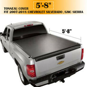 5 8ft Roll Up Tonneau Cover For 2007 2018 Chevrolet Silverado Gmc Sierra
