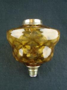 Superb Victorian Oil Lamp Font Internally Moulded Amber Glass Brass Fittings