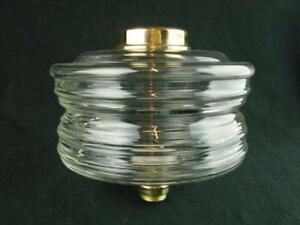 Large 2 Tier Horizontally Ribbed Glass Oil Lamp Font Screw Fit 23mm Undermount