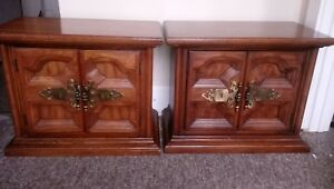 Vtg Oak End Tables Night Stand Cabinets With Francy Brass Metalwork