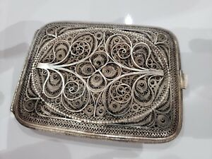 Vintage Antique Silver Filigree Cigarette Card Case 114g 3 1 4 X 4 1 4