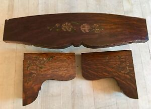 Antique Damascus Sewing Machine Drawer Front Panels Hand Painted Treadle