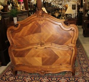 French Antique Louis Xv Walnut Queen Size Bed Headboard Footboard And Rails