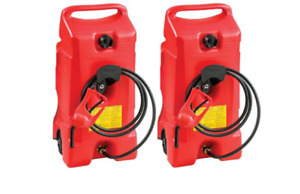 New Scepter Flo N Go Duramax 14 Gallon Portable Gas Fuel Tank With Pump 2 Pack