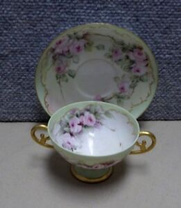 Hand Painted Antique 2 Handle Cup Saucer