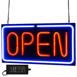 Neon Open Sign 24x12 Inch Led Light 30w Horizontal 30w Game Rooms Hanging Chain
