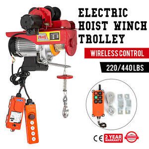 Electric Wire Rope Hoist W Trolley 220lb 440lb Suspending Copper Automatic
