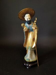 Chinese Cloisonne Enamel Figure On The Fitted Wood Base With Original Case
