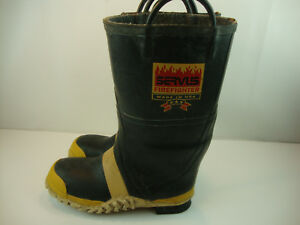 Servus Firefighter Turn Out Gear Rubber Boots Steel Toe Size 11 W Bunker Boots