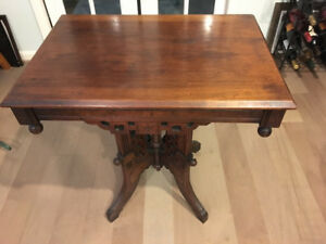 Eastlake Style Walnut Carved Parlor Table