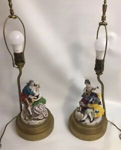 Pair Antique Dresden Porcelain Lace Figurines Lamp Couples Courting