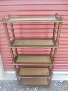 Mid Century Hollywood Regency Faux Bamboo Oak Etagere Shelving Unit Book Case