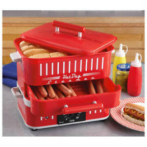 Hot Dog Steamer With Lid Retro Red Hotdog Bun Warmer Cooker Electric Home