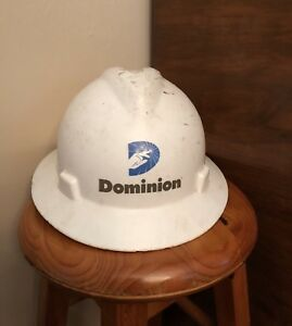 Dominion Energy Power Company Worker Hard Hat Plastic White Helmet Medium Msa