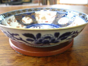 Antique Chinese Qing Dynasty Blue And White Porcelain Imari Footed Bowl