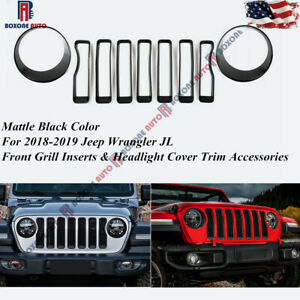 Front Grill Insert headlight Cover Trim Accessories For 2018 Jeep Wrangler Jl