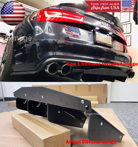 Abs Black Textured Rear Shark Bumper Center Diffuser Fin For Audi 12 18 A6 S6