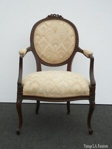 Antique Vintage French Provincial Ornately Carved Off White Accent Chair