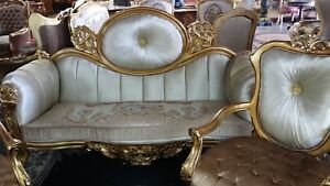 Antique Golden Sofa Set French Style Sofa Loveseat 2 Chairs Coffee Table