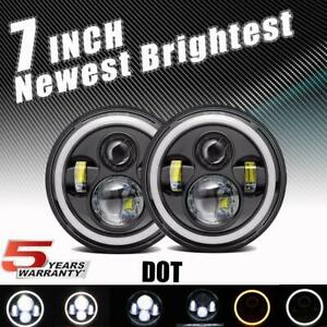 Pair 7 Inch Round Led Headlights Projector Hi lo For Chevrolet C10 1977 1980