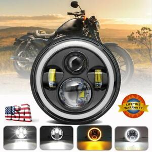 7 Inch Round Cree Drl Led Headlight Hi Lo Beam For Harley Davidson Motorcycle