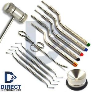 Dental Implant Surgery Kit Sinus Lift Osteotome Lucas Curettes Bone Graft Mallet