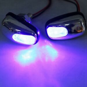 Pair Auto Car Hood Windshield Spray Nozzle With Blue Led Light 12v Wiper Washer