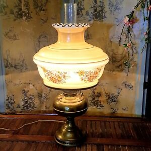 Vintage Brass Hurricane Hand Painted Table Lamp