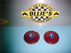 1934 1935 1936 Plymouth Dodge Chrysler Glass Tail Light Lenses Blue Dot Hot Rod