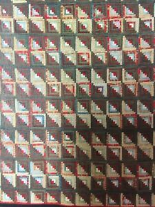 1870 S Wool Challis Log Cabin Antique Quilt Amazing