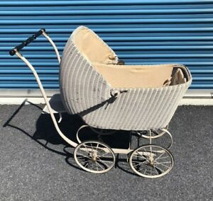 Vintage Antique Wicker Baby Pram Carriage Stroller Buggy Very Rare Full Size