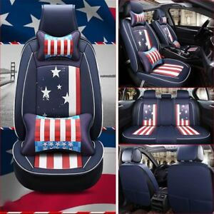 Luxury Car Seat Cover Universal Full Set Pu Leather Front Rear Cushions Us Flag