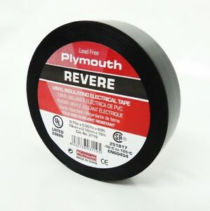 50 Rolls Plymouth Rubber 3119 Revere Black 7 Mil Vinyl Electrical Tape 3 4 x 60