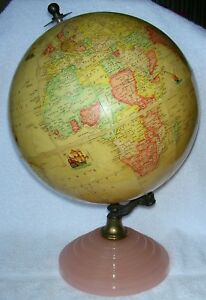 Antique Rand Mcnally 9 World Indexed Terrestrial Art Globe Deco Glass Base 1938