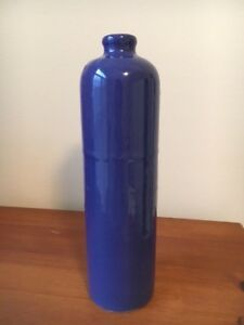 Vintage Antique Blue Stoneware Glazed Bottle Jug 11 Tall X 3
