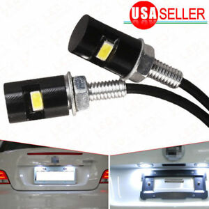 2x Universal 12v White Led License Plate Light Lamp For Motorcycle Car Truck New