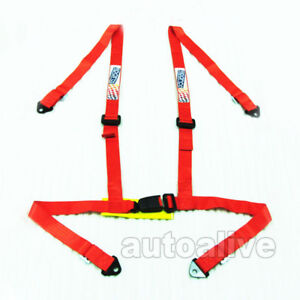 Car Turnk 4 Point 1 85 Inch Width Racing Seat Belt Safety Harness Universal Red