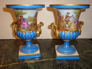 Magnificent Pr Signed Sevres Porcelain Blue Portrait Fragonard Vases C 1920 S