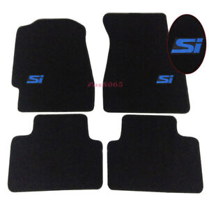 For 92 95 Honda Civic 2dr 4dr Floor Mats Carpet Front Rear W Blue Si Embrodery